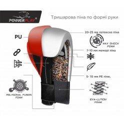 Боксерські рукавиці PowerPlay 3010 Чорно-Сірі 12 унцій