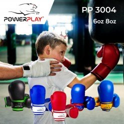 Боксерські рукавиці PowerPlay 3004 JR Синьо-білі 8 унцій