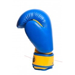 Боксерські рукавиці PowerPlay 3004 JR Синьо-Жовті 6 унцій