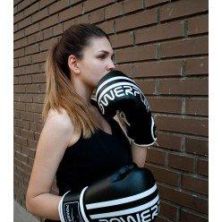 Боксерські рукавиці PowerPlay 3010 Чорно-Сірі 10 унцій