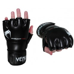 ПЕРЧАТКИ VENUM IMPACT MMA GLOVES - SKINTEX LEATHER - BLACK