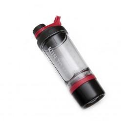 Шейкер з контейнером Casno 600 мл KXN-1199 Сірий/Червоний