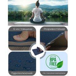 Килимок для йоги і фітнесу PowerPlay 4150 Premium TPE 183*61*0.6 см Синій