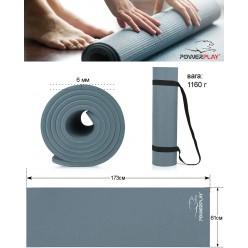Килимок для йоги і фітнесу PowerPlay 4010 (173*61*0.6) Сірий