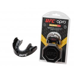 Капа OPRO Gold Braces UFC Hologram Black Metal/Silver (art.002262001)